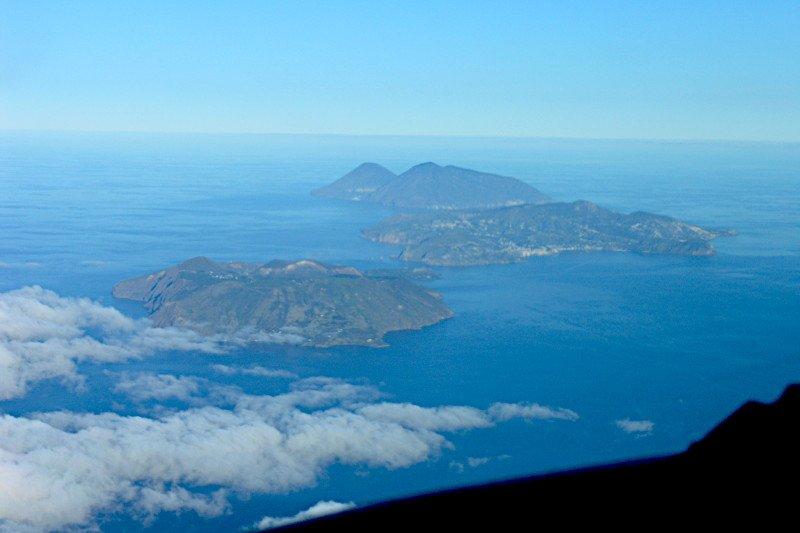 Helicopter flight volcanoes Sicily